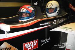 Former Minardi Test Driver, Matteo Bobbi, gives singer, Max Gazzé, a ride