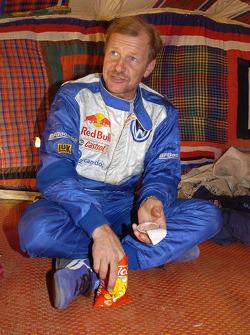 Juha Kankkunen at the bivouac