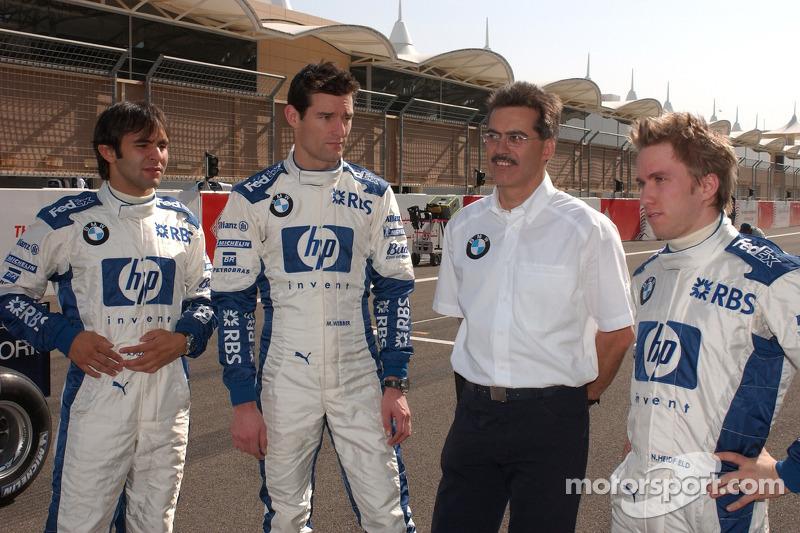 Nick Heidfeld y Mark Webber, Antonio Pizzonia con Dr. Mario Theissen