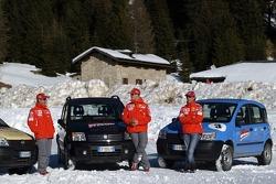 Fiat Panda race: Rubens Barrichello, Michael Schumacher and Luca Badoer