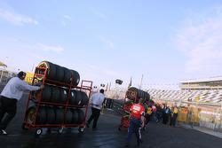 Crew head to pit area