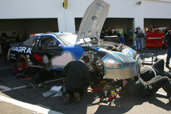 Viagra Ford crew at work on the damaged #6 car of Mark Martin
