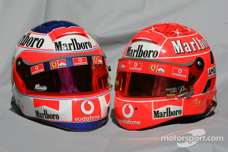 Helmets of Rubens Barrichello and Michael Schumacher at Australian GP