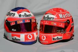 Helmets of Rubens Barrichello and Michael Schumacher