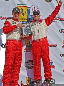 GT podium: class winners Joey Hand and Bill Auberlen