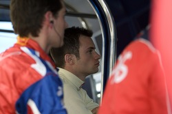 Pole sitter Nicolas Lapierre watches the race from the pit after a mechanical failure on pace lap