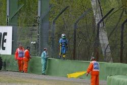Giancarlo Fisichella after his crash