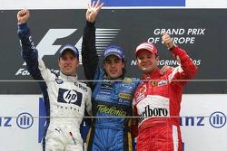 Podium: race winner Fernando Alonso with Nick Heidfeld and Rubens Barrichello