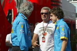 Flavio Briatore, Willi Weber and Fernando Alonso