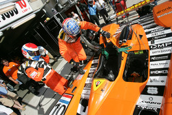 Pitstop for #10 Racing for Holland Dome Judd: driver change between Elton Julian and John Bosch