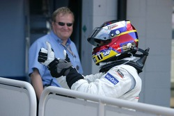 Race winner Juan Pablo Montoya celebrates