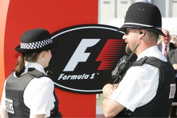 Police at work in the paddock