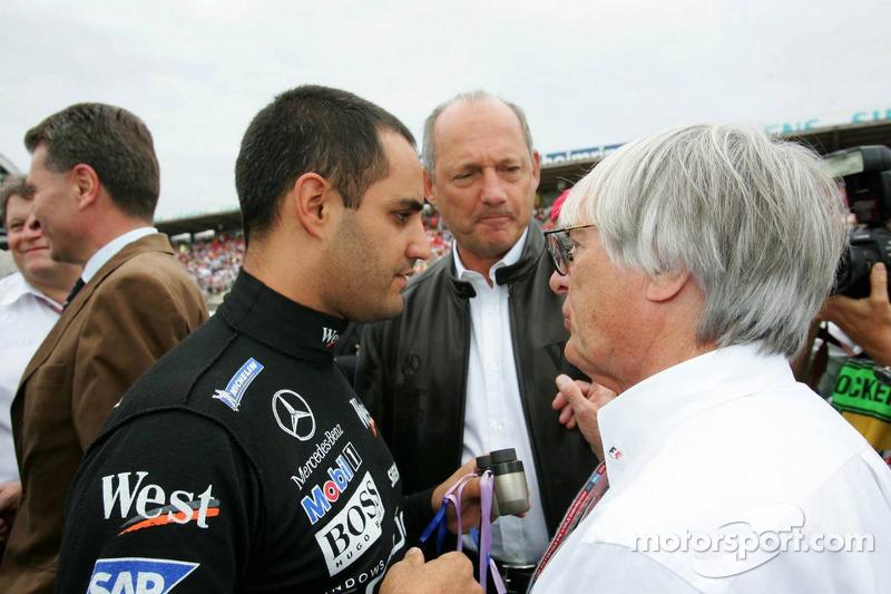 Juan Pablo Montoya con Bernie Ecclestone