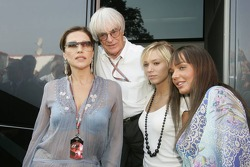 Bernie Ecclestone with wife Slavica and daughters Petra and Tamara