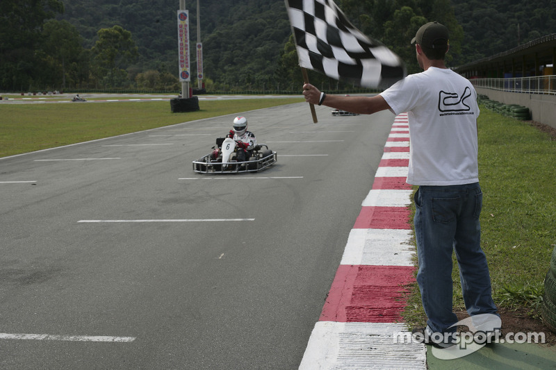Go-kart event in Sao Paulo: checkered flag