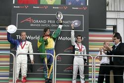 Podium: racewinnaar Nelson A. Piquet met Alex Premat en Matt Halliday