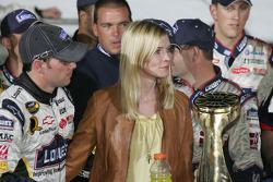 Victory lane: race winner Jimmie Johnson and wife Chandra