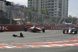 Cristiano da Matta sits in his wrecked car