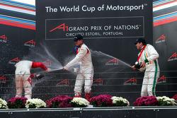 Podium: champagne for Alexandre Premat, Neel Jani and Ralph Firman
