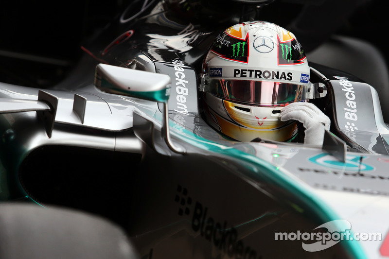 Lewis Hamilton, Mercedes AMG F1 W06 in the pits