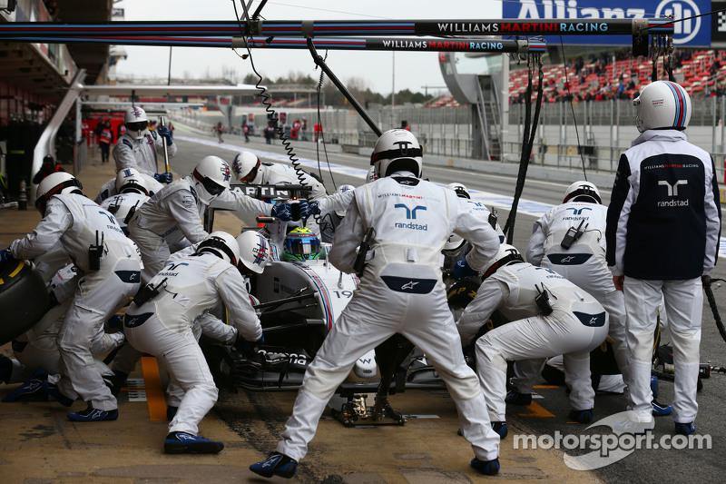 Felipe Massa, Williams FW37, beim Boxenstopp-Training