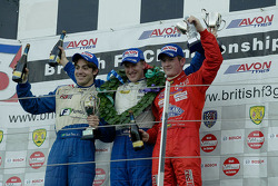 The podium for race 1 of the British F3 International Series at Silverstone: 2nd placed Danilo Dirani, Charlie Kimball, 3rd placed Dan Clarke