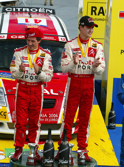 Podium: 2005 JWRC champions Daniel Sordo and Marc Marti celebrate