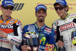 Podium: race winner Marco Melandri with Nicky Hayden and Valentino Rossi