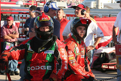 Jeremy Mayfield's crew members wait during the race