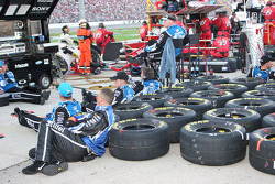Ryan Newman's team relaxes during the race
