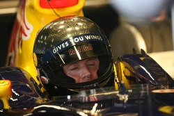 David Coulthard tests a new Bell helmet