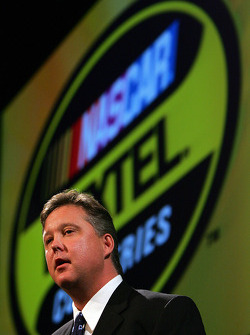 NASCAR Chairman and CEO Brian France gives his annual speech at the NASCAR Press Conference