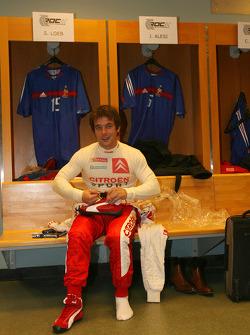Sébastien Loeb in the locker room of the Stade de France