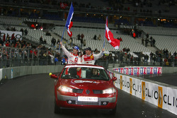 Victory lap for Race of Champions winner Sébastien Loeb and runner-up Tom Kristensen