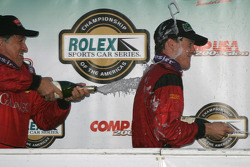 DP podium: champagne for Bob Stallings and Alex Gurney