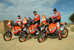 Team Repsol KTM: Marc Coma, Carlo de Gavardo and Giovanni Sala