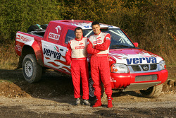 Team Nissan Dessoude: Krzysztof Holowczyc and Jean-Marc Fortin pose with the Nissan Pick-Up T1