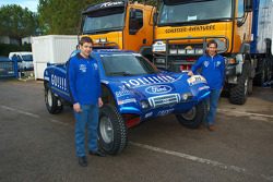 Team Gauloises Schlesser: Arnaud Debron and Thierry Magnaldi pose with the Schlesser-Ford Buggy
