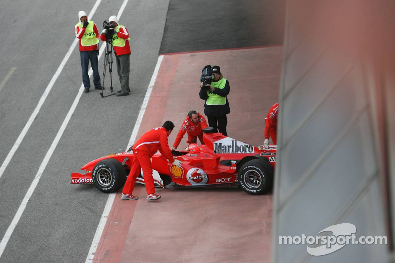 Michael Schumacher back in the pits