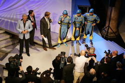 Fernando Alonso, Giancarlo Fisichella and Heikki Kovalainen with Flavio Briatore on stage