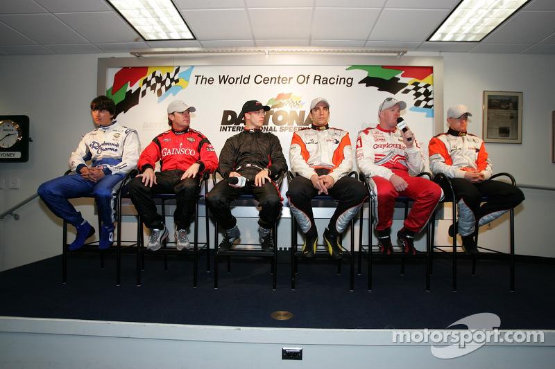 Champ Car rueda de prensa los pilotos: Graham Rahal, Jimmy Vasser, Sébastien Bourdais, Justin Wilson, Paul Tracy y AJ Allmendinger
