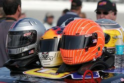 Helmets of the #08 Goldin Brothers Racing Mazda RX-8 drivers