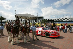 Budweiser Bistro event: the Bud Chevy and the vintage Budweiser delivery carriage on display
