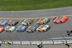 Jeff Burton and Dale Jarrett lead the field to the green flag