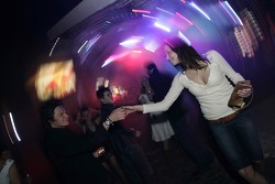 Guests dance at the party