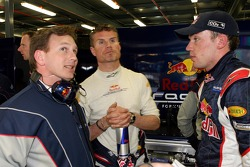 Christian Horner, David Coulthard and Robert Doornbos