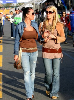 Paddock beauties on pitlane after the race