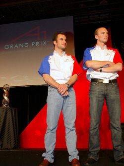 Nicolas Lapierre (FRA) A1 Team France and Alexandre Premat (FRA) A1 Team France  award for winning the A1GP Championship