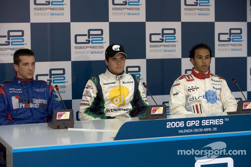 Nelson A. Piquet, Tristan Gommendy et Lewis Hamilton