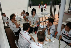 BMW Sauber F1 team members have lunch in the BMW hospitality